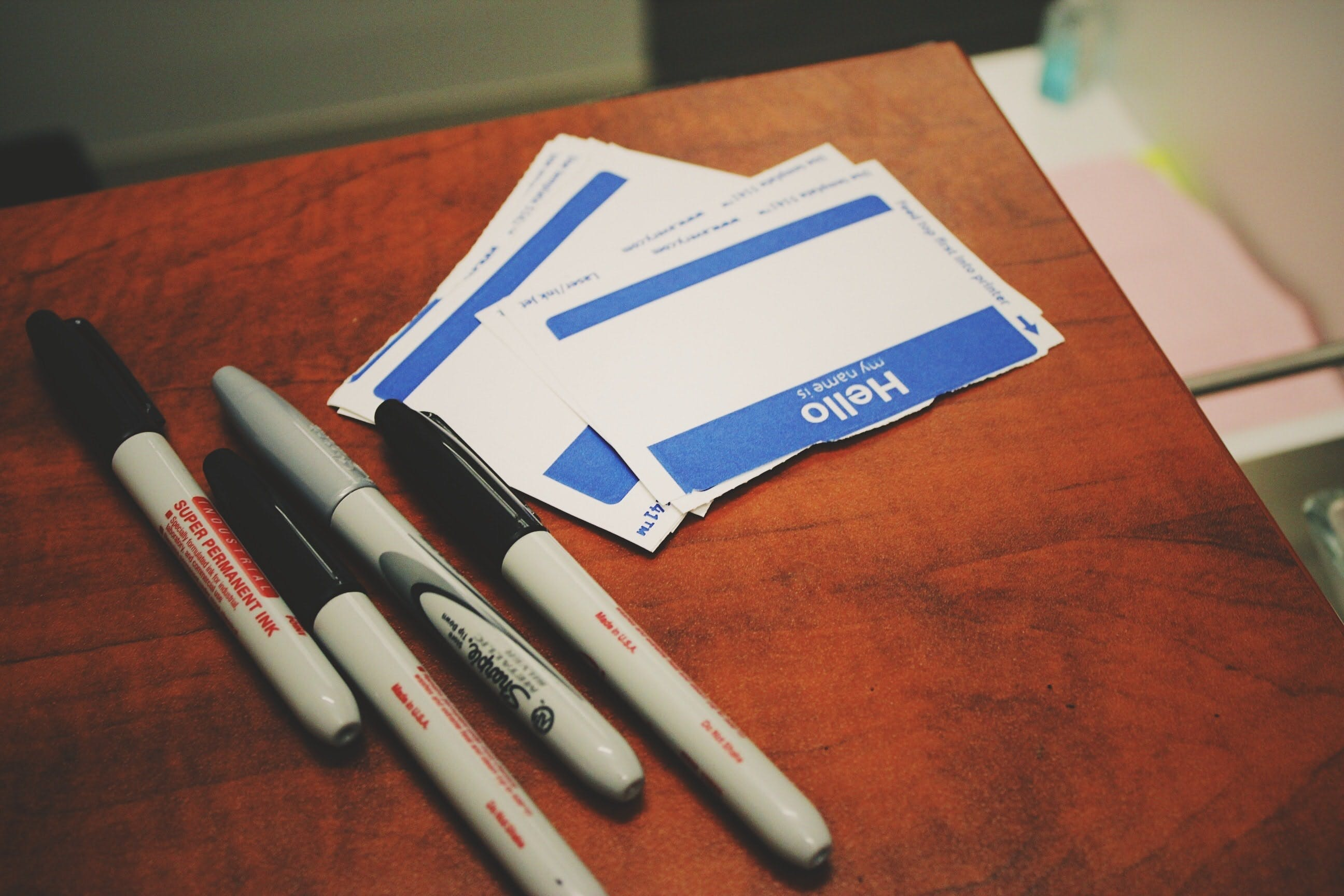 sharpies and blank name tags