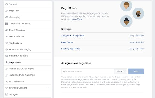 assigning facebook page roles