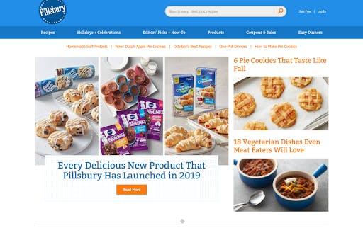 homepage of pilsbury site