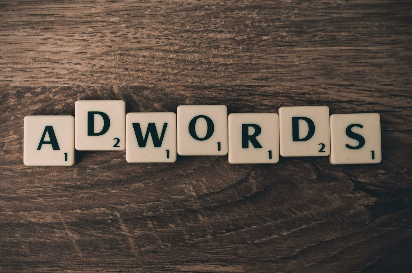 scrabble tiles spelling out adwords