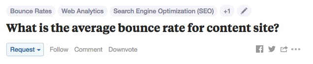 quora question for average bounce rate on a content site