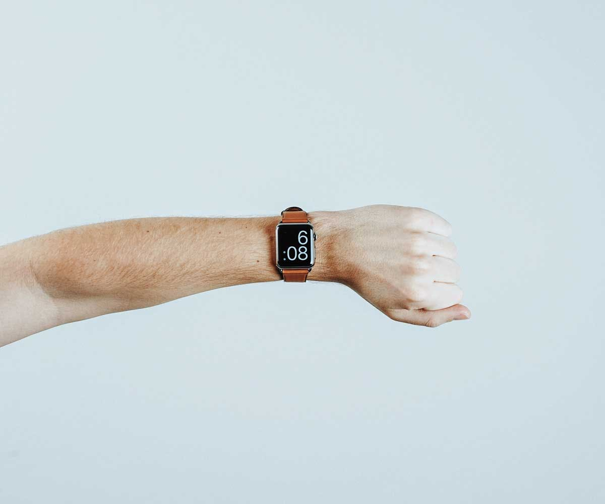 image of an Apple Watch on a persons wrist