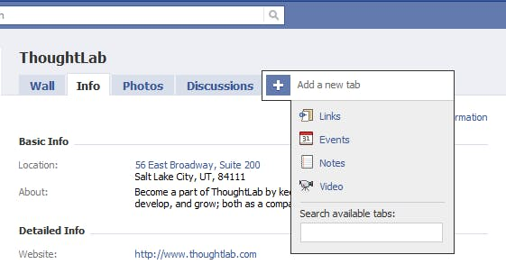 Facebook Events Tab and Settings