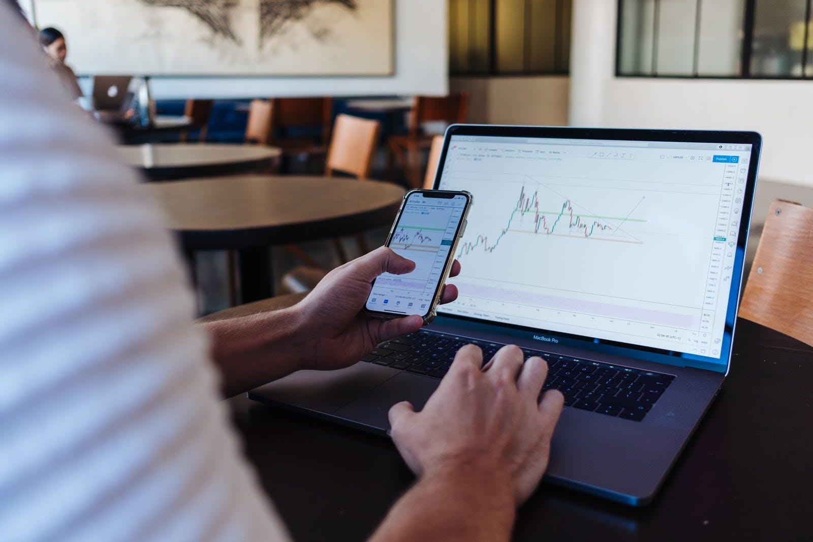man checking graph on computer