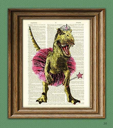upcycled book art of trex in tutu
