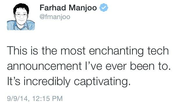 Farhad Manjoo tweet about apple
