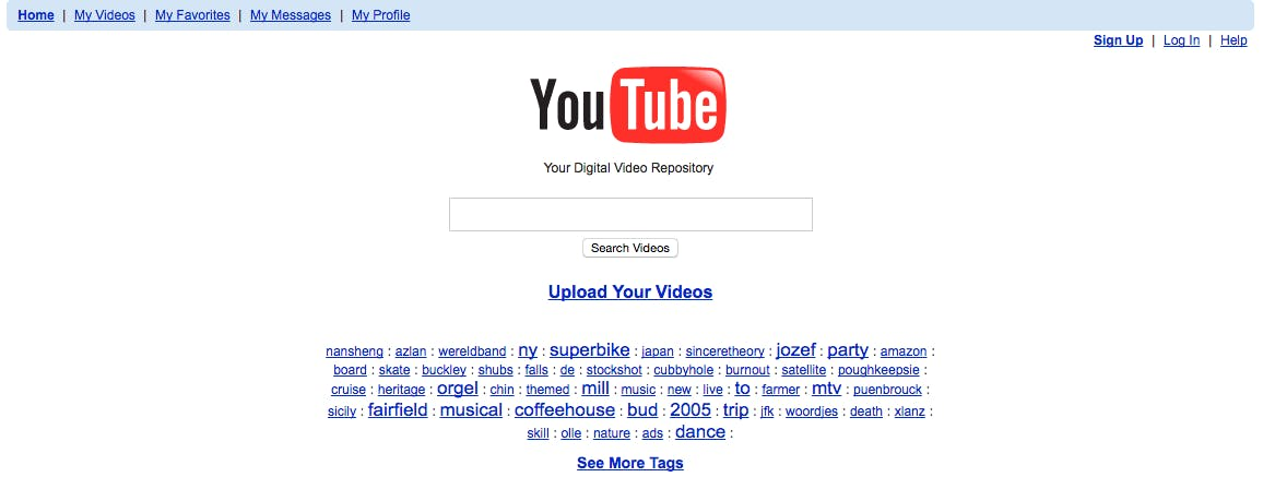 Youtube homepage in 2005