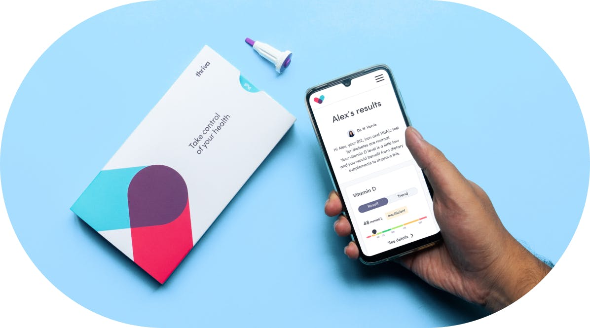 Thriva home blood testing kit and health results on smartphone