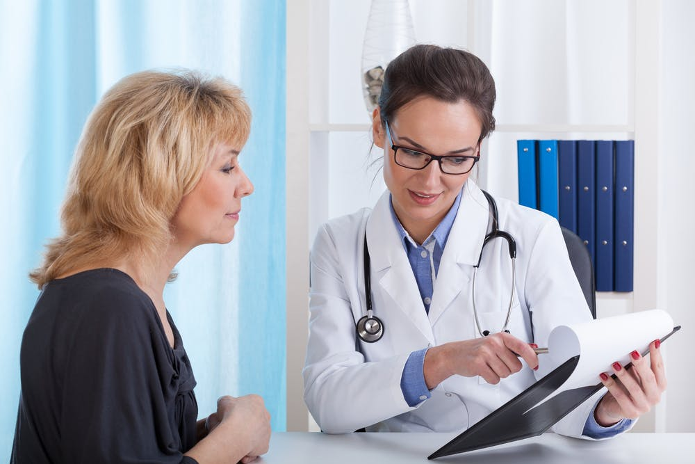 Perimenopausal woman speaking to a doctor