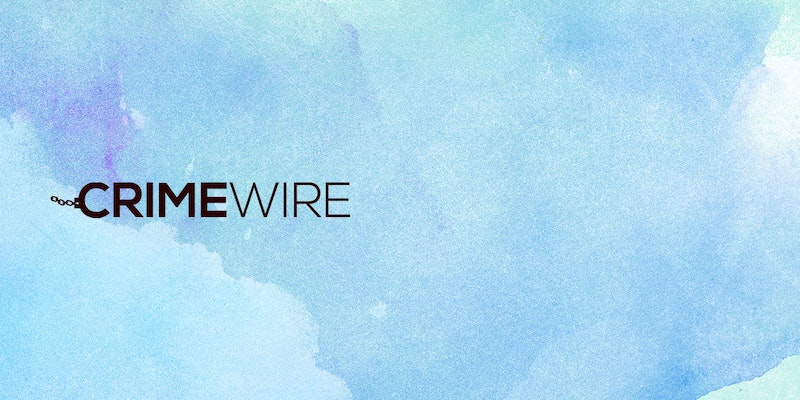 Blue background with black Crime Wire logo.