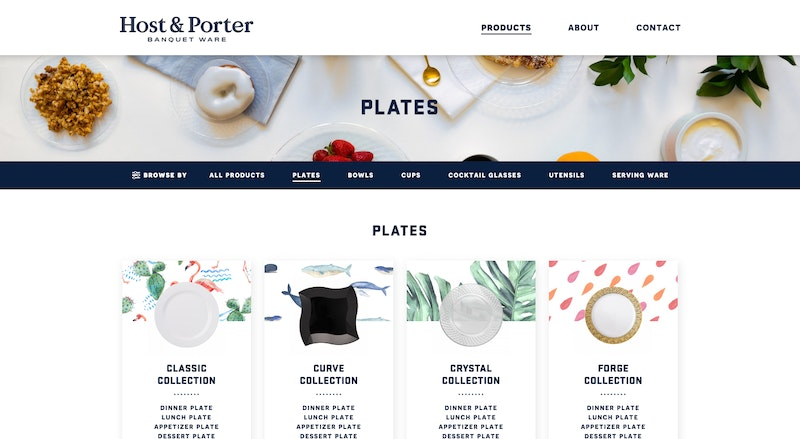 Host & Porter project product category template design by Caava Design.