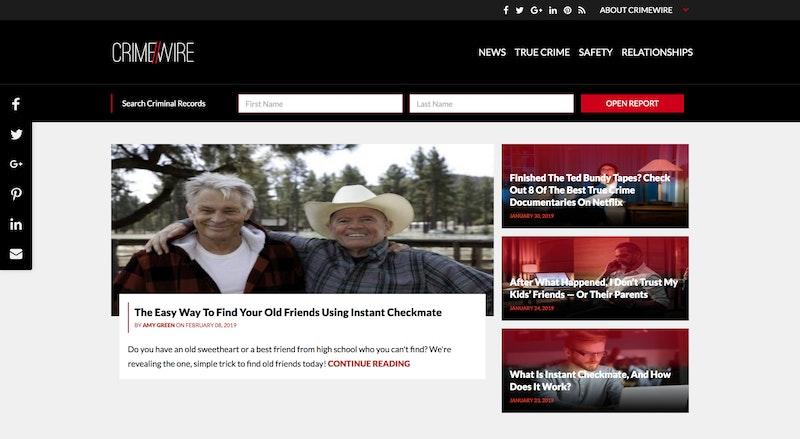 Screenshot of Crimewire blog