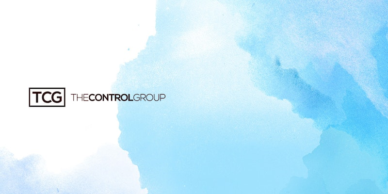 Blue background with black The Control Group logo.