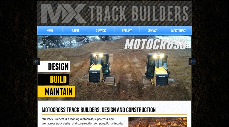Screenshot of 2013 MX Trackbuilders website.