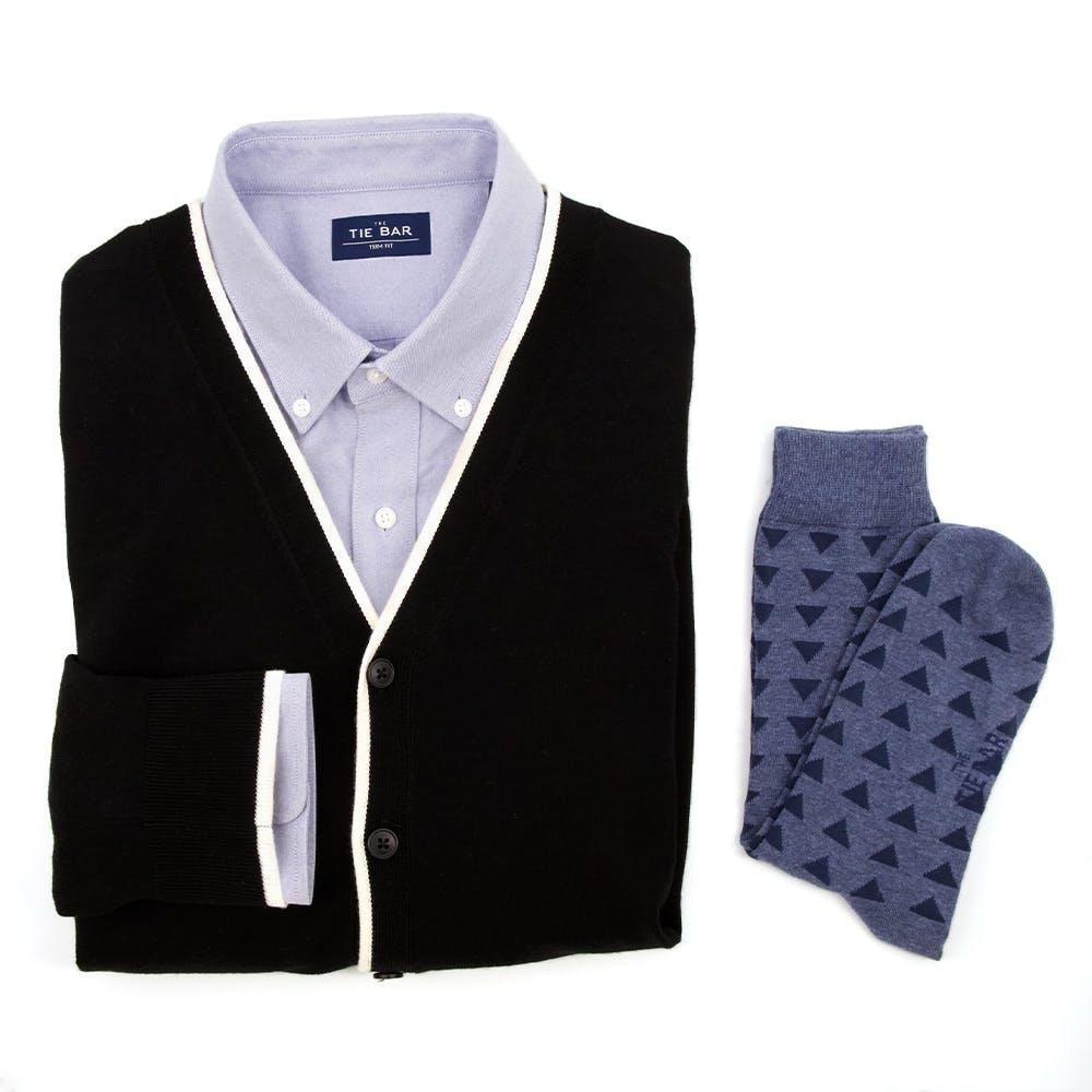 Tipped Merino Wool Black Cardigan Combo