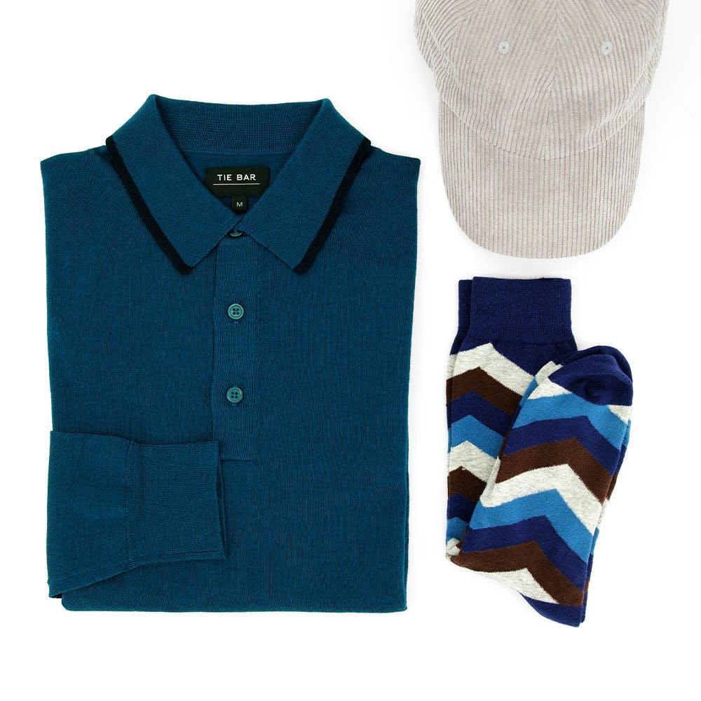 Perfect Tipped Merino Wool Deep Teal Polo Combo