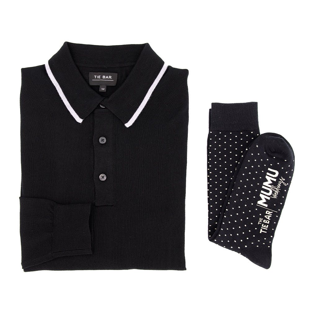 Perfect Tipped Merino Wool Classic Black Polo Combo
