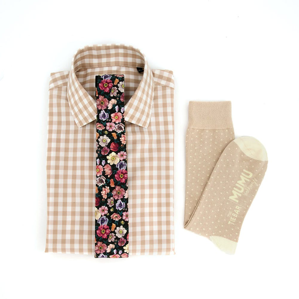 Liberty Cosmos Floral Tie  & Oversized Gingham Shirt Combo