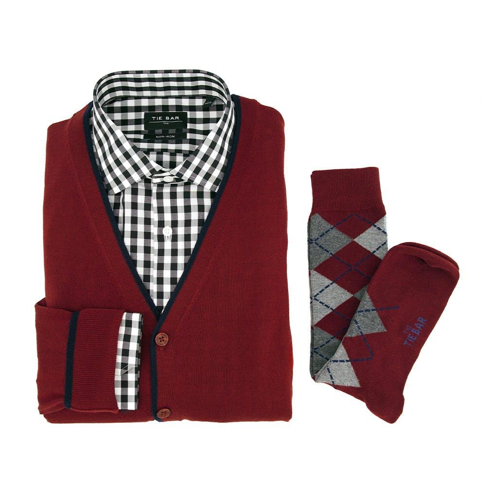 Perfect Tipped Merino Wool Cardigan Burgundy Combo