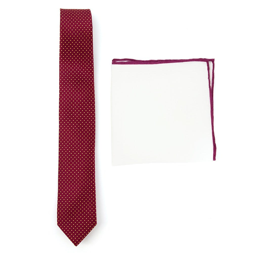 Burgundy Dot Tie Combo for Weddings