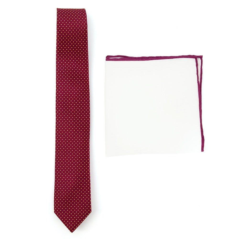 Burgundy Dot Tie Combo for Weddings