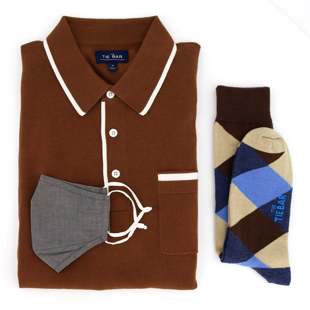 Tipped Polo & Grey Face Mask Combo