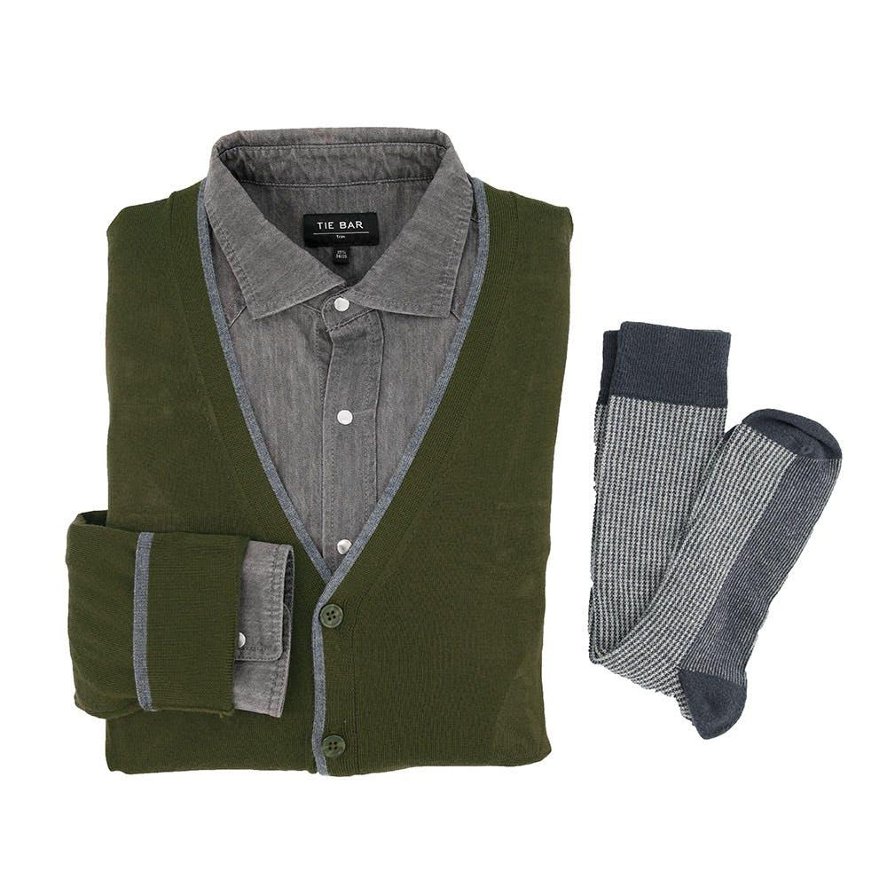 Perfect Tipped Merino Wool Cardigan Olive Combo