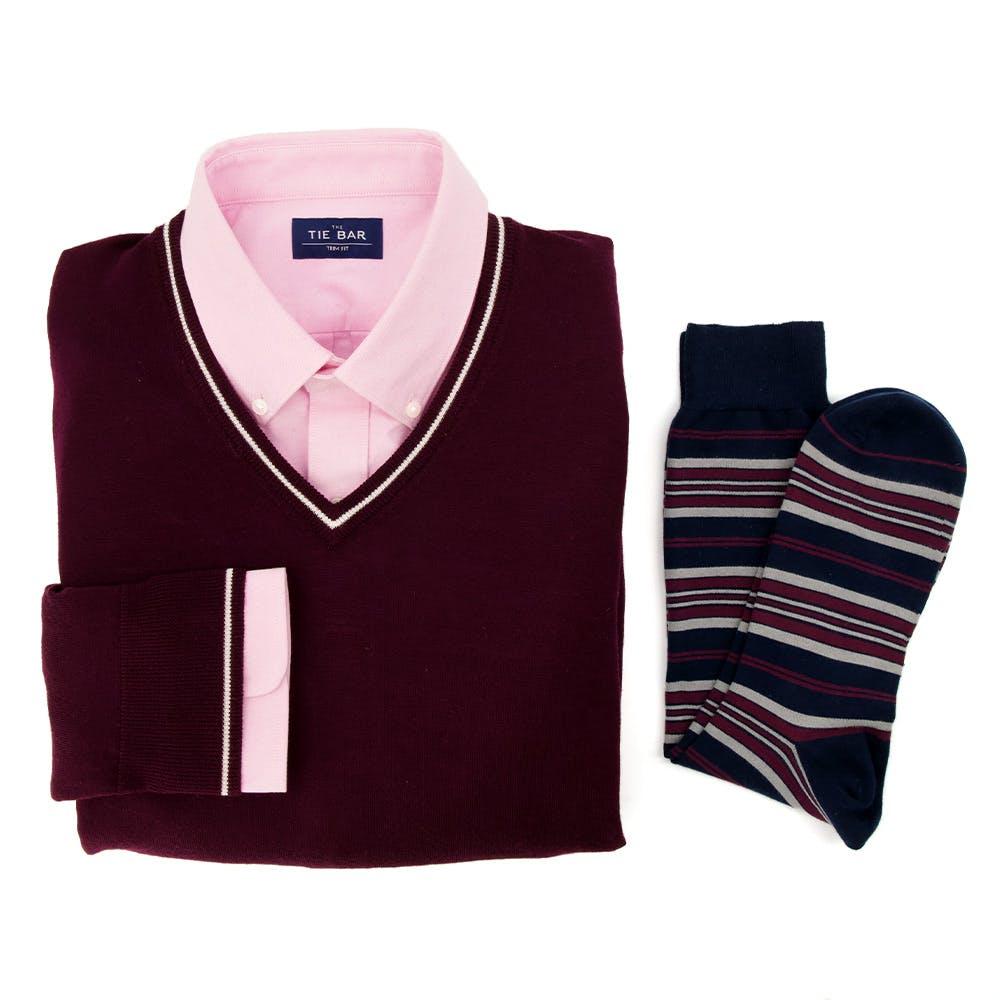 Variegated Stripe Sock Burgundy Combo