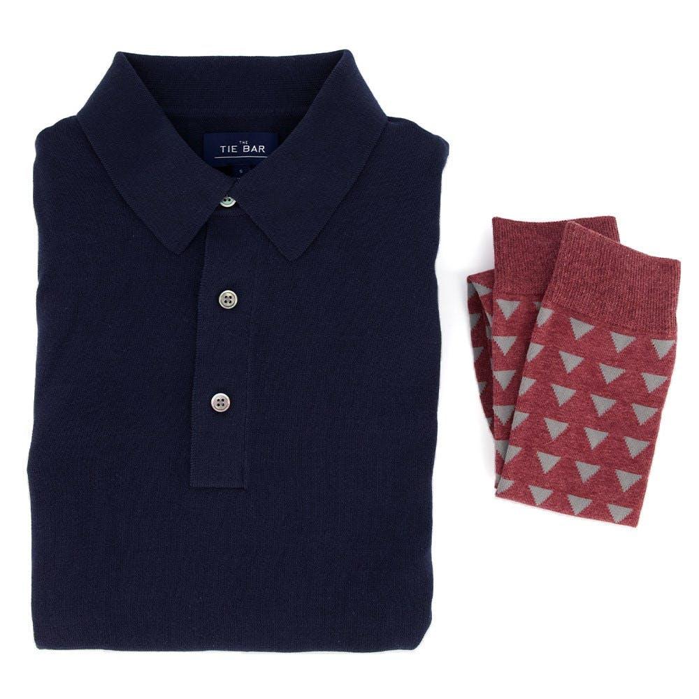 Navy Sweater Polo & Geo Socks Combo