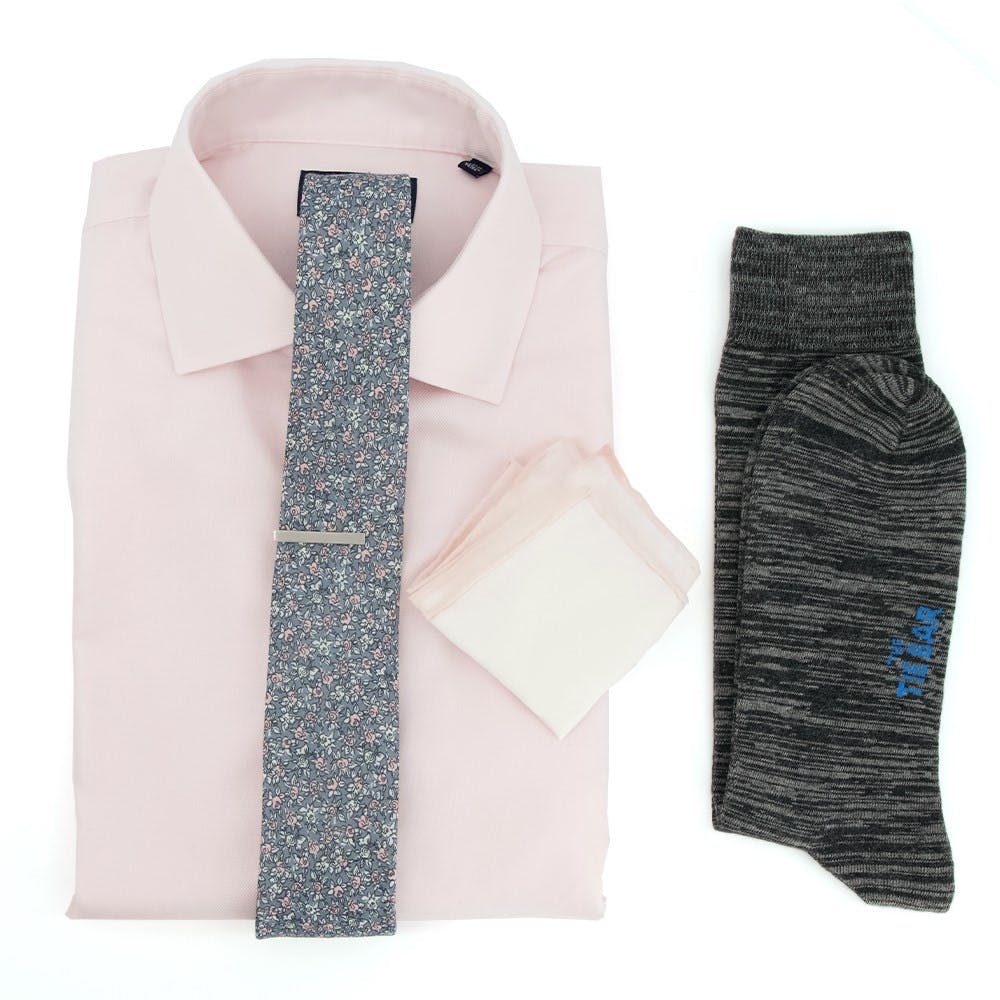 Textured Solid Pink Wedding Outfit