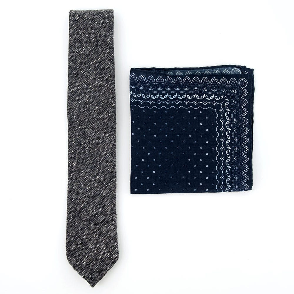 Unlined Tie and Pocket Square Combo