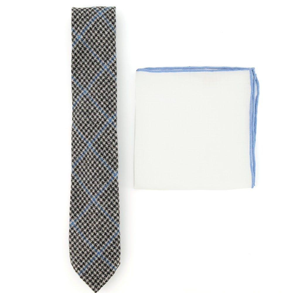 Houndstooth Tie and Pocket square Combo