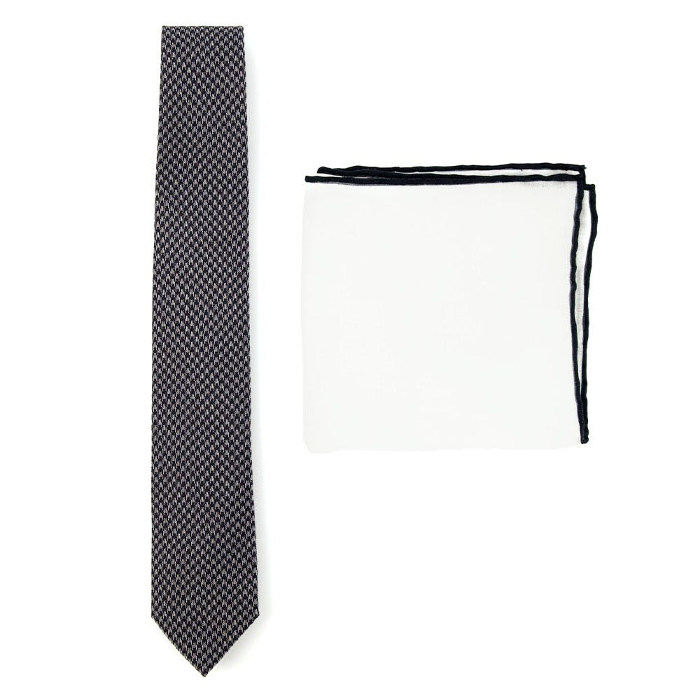 Houndstooth Tie Combo To Match Black Suits