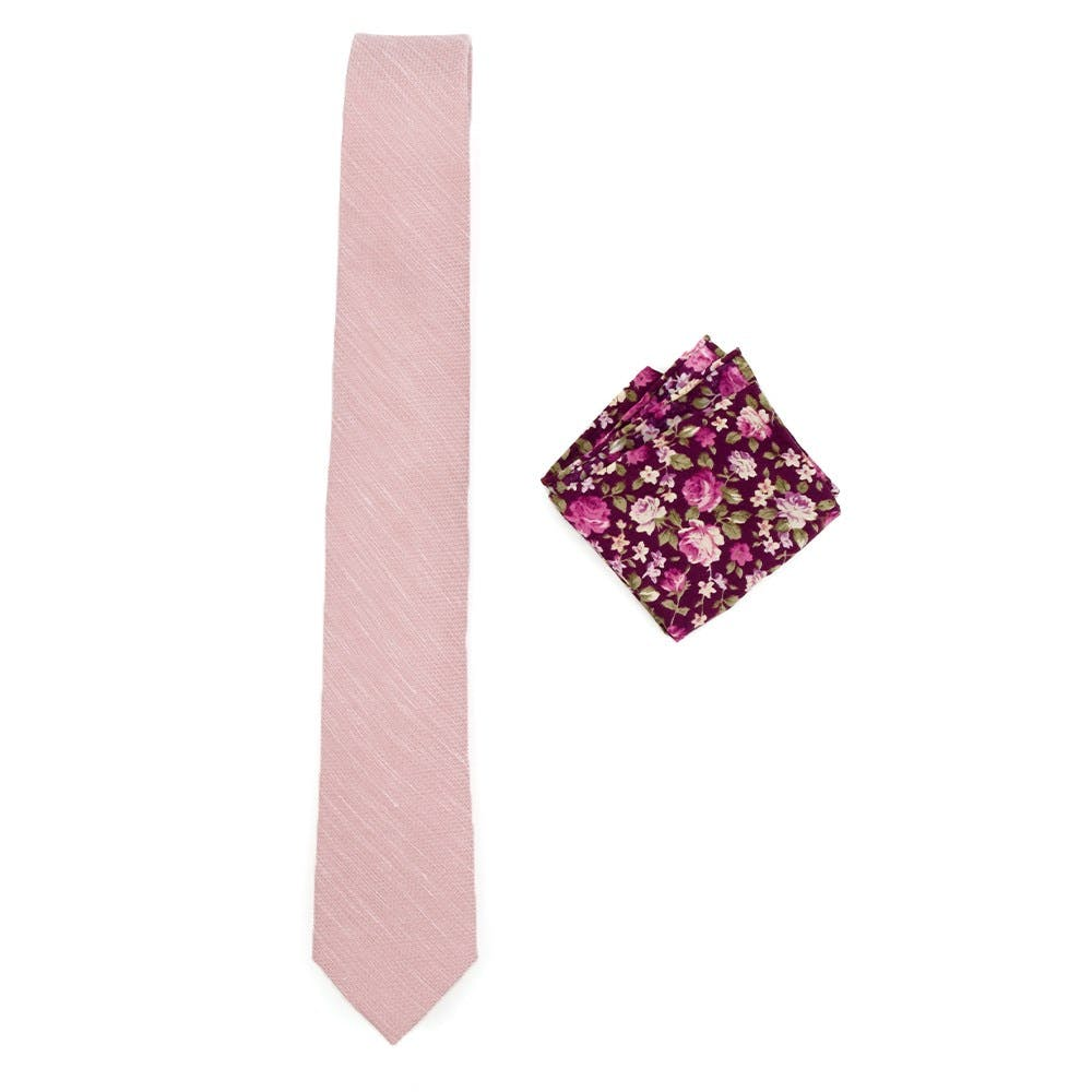 Blush Pink Tie and Pocket Square Combination