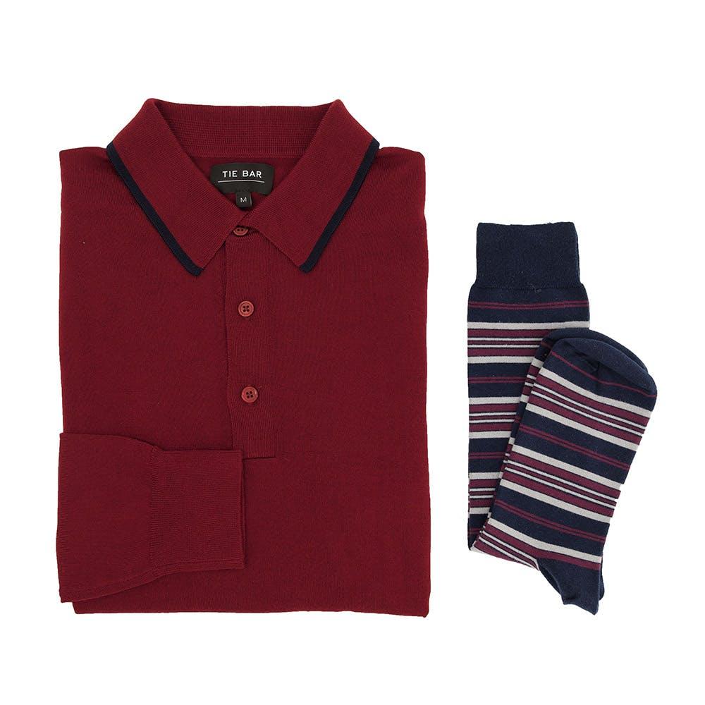 Perfect Tipped Merino Wool Burgundy Polo Combo