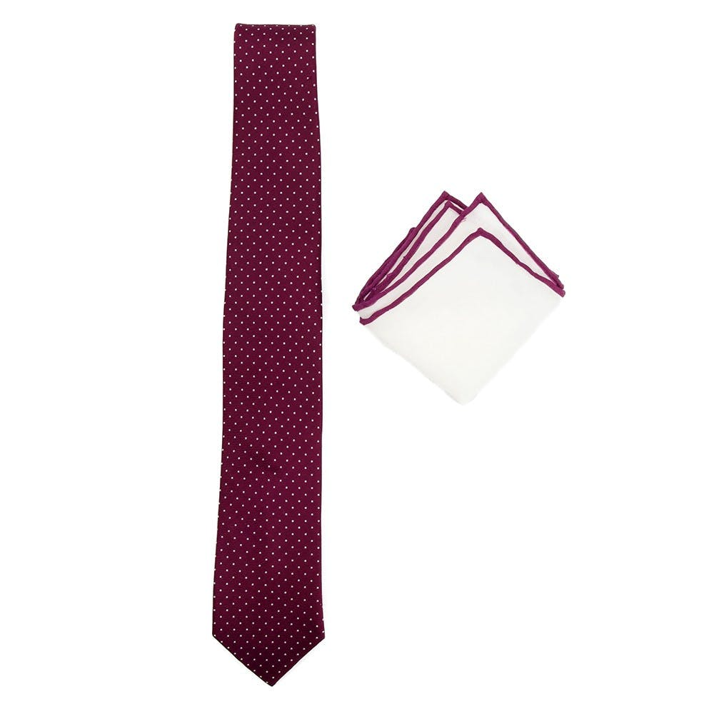 Burgundy Tie and Pocket Square Combination