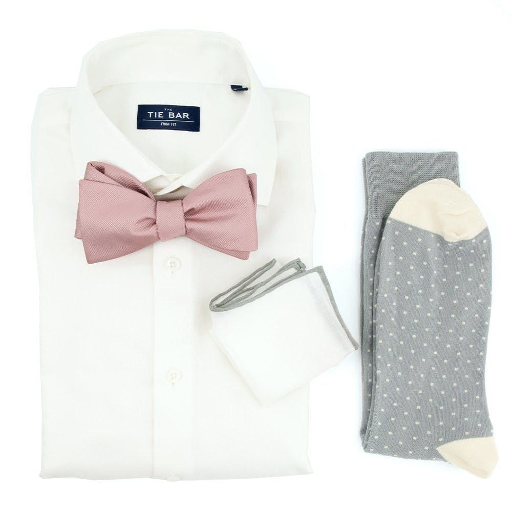 Grosgrain Solid Mauve Stone Wedding Outfit