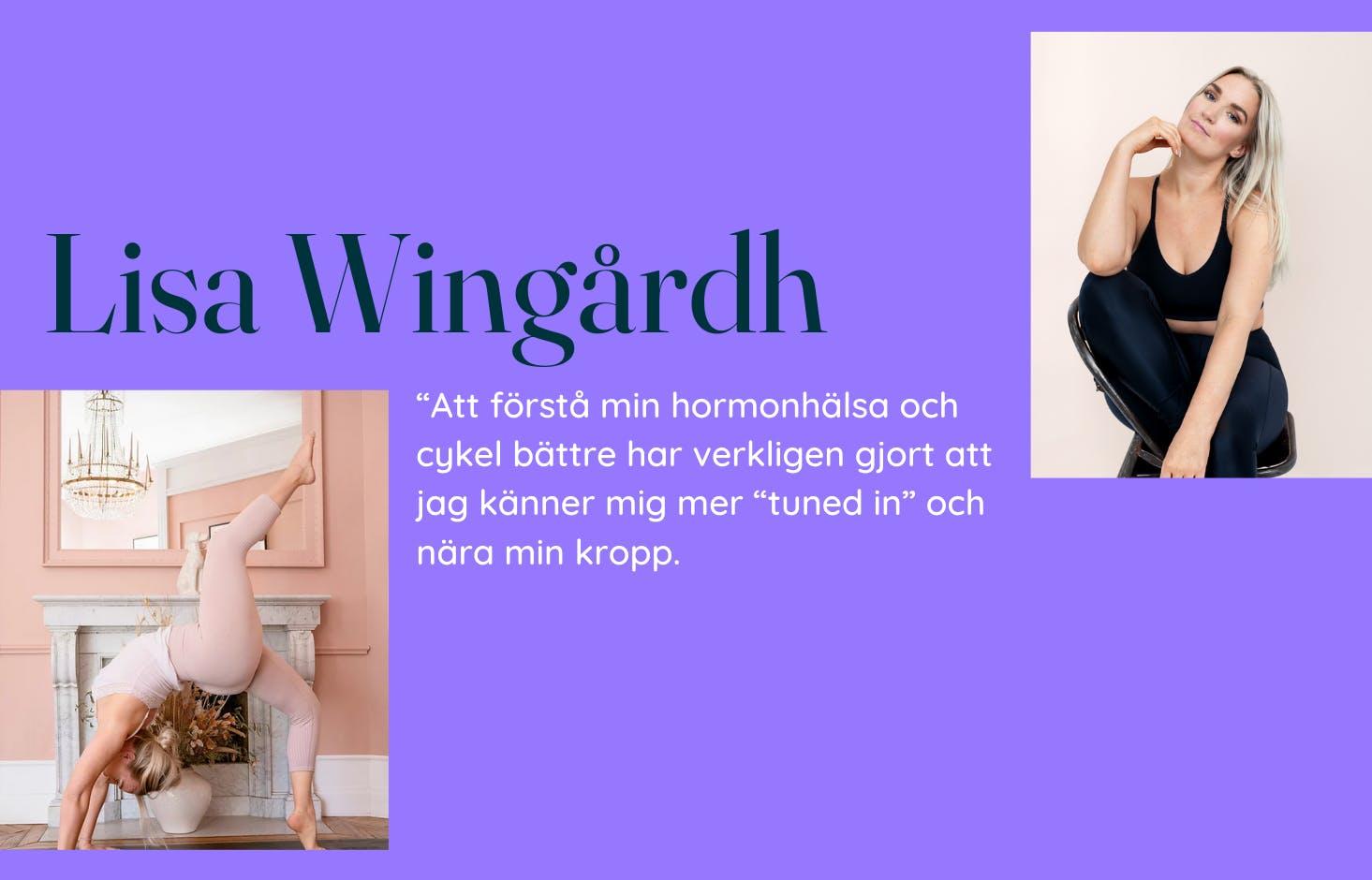 Bilder på Lisa Wingårdh och citat mot lila bakgrund.
