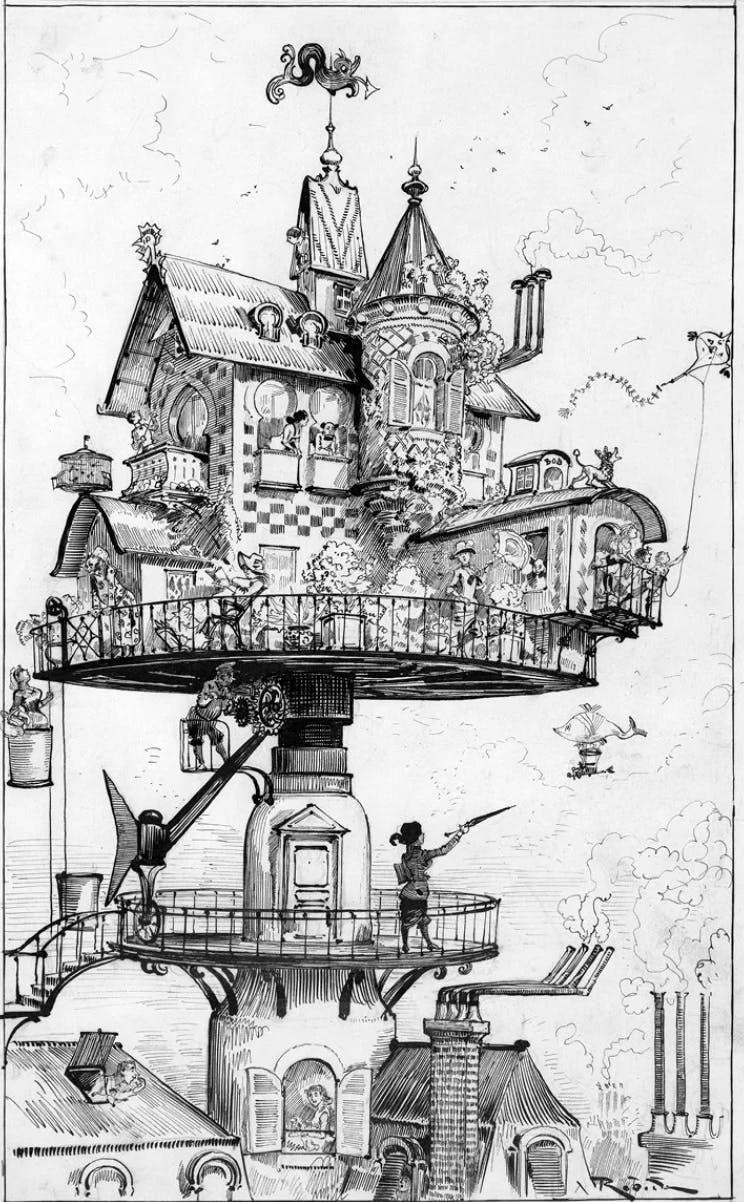 Avenir radieu, Albert Robida, Le vingtième siècle, 1883 : les cheminées d'usines ne sont pas symbole de pollution mais la promesse d'un avenir technologique et prospère.