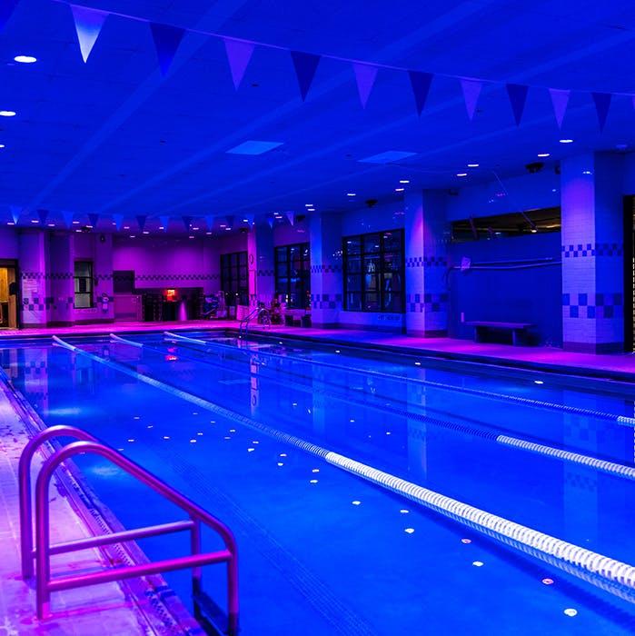 Salt water 25 meter pool at TMPL Hells' Kitchen gym