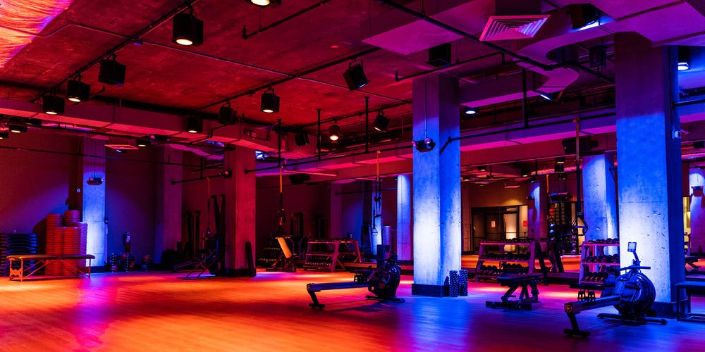 Group exercise studio at our TMPL Hells Kitchen gym