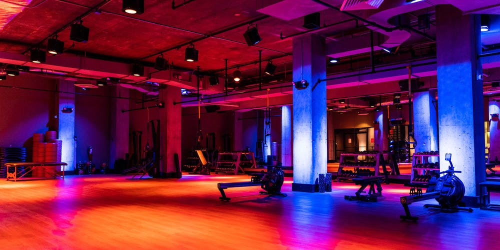 Group exercise studio at our TMPL Hell's Kitchen gym