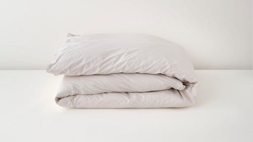 Folded sand percale duvet cover