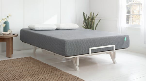 Adjustable bed frame with a Tuft & Needle Mint Mattress