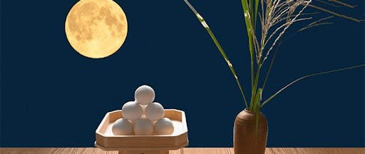 Traditional food - Tsukimi dango and pampas grass are offerings to the moon!