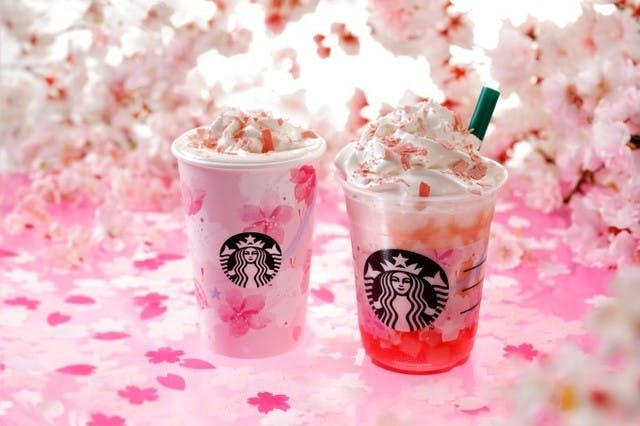 2db3407a956b0b41e667003639675d25a3028d72 starbucks sakura frappuccino drinks cherry blossoms hanami 2019 japan japanese market