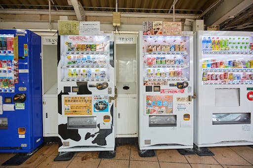 A Japanese vending machine that only sells various flavors of milk.