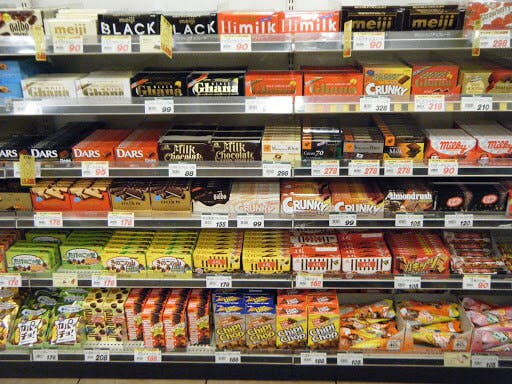 Japanese chocolates on display at a local convenience store