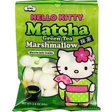 A bag of Japanese candy, hello kitty matcha flavored marshmallows