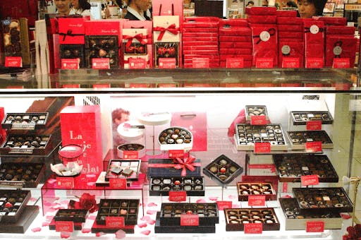A variety of Japanese chocolates for valentine's day